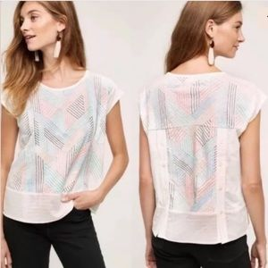 Anthropologie | Sienna Top Embroidered Stitch Sm
